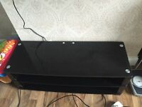 Black glass tv stand large