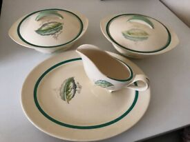 Vintage Burleigh Viscount style: meat serving plate gravy boat & 2 tureens