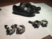 Shimano cycling shoes and clips