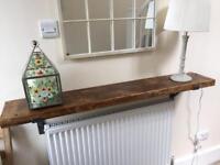 Solid Wood Shelf (124.5cm x 22cm) Waxed in Jacobean Oak