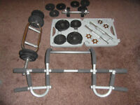 Dumbbell set, triceps bar and weights