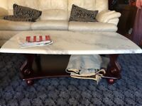 Coffee table with marble/granite like surface/top