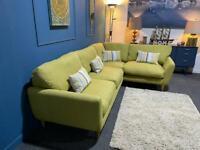 Yellow/green fabric corner sofa