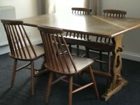 Antique Wooden Dinning Room Table & x 4 Chairs