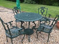 ORNATE iron circular table with 4 armchairs umbrella cover and metal stand