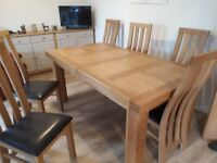 American oak extendable table and chairs. 2 yesrs old. Used only at christmas.