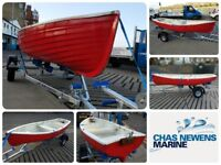 Red Mock Clinker 11ft GRP Fibre Glass Row Boat Rowing Fishing Dinghy - 11 ft