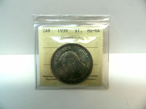 1939 SILVER CANADIAN DOLLAR  TONED ICCS GRADED