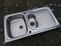 Stainless Steel Kitchen Sink. One and a Half Bowl. Unused