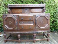 Beautiful Old Oak Sideboard Cabinet Drawers