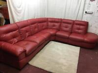 Red leather right handed corner sofa excellent condition