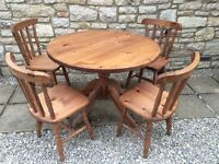 BRAND NEWSOLID THICK PINE ROUND DRUM KITCHEN DINING TABLE 4 CHAIRS SHABBY CHIC