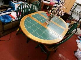 Dining Table - Green Painted Pine & Pine Round / Oval Top Extendable Table + 6 Chairs