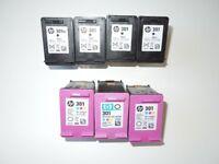 7 Genuine HP301 Empty Ink Cartridges 4 x Black 3 x Tri Colour