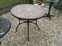 ROUND MOSAIC TOP GARDEN TABLE METAL LEGS