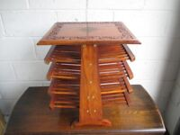 INDIAN BRASS INLAID HAND CARVED MULTI TIER MAGAZINE RACK SIDE TABLE FREE DELIVERY