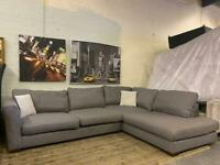 MODERN AND STYLISH DFS GREY FABRIC CORNER SOFA IN EXCELLENT CONDITION