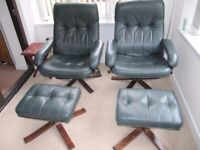 2 leather recliner swivel chairs with matching stools