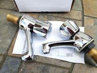 Traditional styled chrome lever hot & cold basin taps from Plumbsure Quartz range