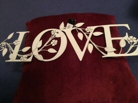 Metal love sign new with labels
