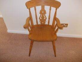 Heavy wooden farm house chair sturdy good condition REDUCED