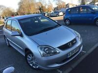 Honda Civic 2.0 type S 2004, silver, 5 speed manual, 5 door hatch, leather seats, 1 yrs mot