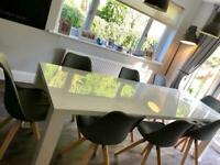 White High Gloss Table with 8 Grey Chairs ONLY £250