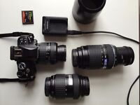 OLYMPUS e400 DSLR with 3 lenses (including telephoto lense and compact flash card)