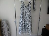 Phase Eight Dress Grey/White floral size 10