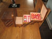 Vintage cantilever 3 tier wooden sewing box