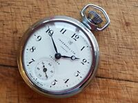 VINTAGE 1962 INGERSOLL TRIUMPH LONDON MECHANICAL WIND UP CHROME POCKET WATCH GWC