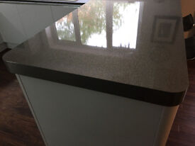 Stylish Silver - Grey sparkly breakfast bar / worktop with stainless steel edge.