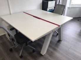 REDUCED! 2 person Knoll desks with cable storage 160w x 165d x 71h