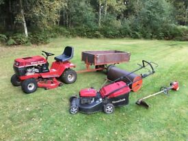 Wheelhorse 210-4 Ride On Mower Tipping Trailer roller pedestrian mower and strimmer