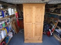 pine wardrobe with bottom draw