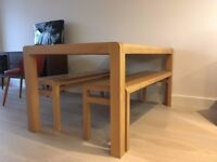 Oak Dining Table and Benches