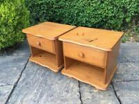 Pair of PINE bedside tables DRAWERS shabby chic