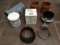 Assorted plumbing, pipe fittings and accessories - new.