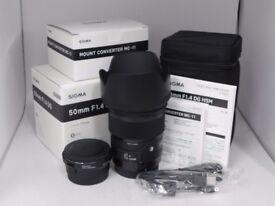 Sigma 50mm f/1.4 DG HSM Art Lens for Canon EF + MC-11 Converter for Sony E