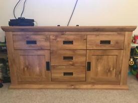 Large oak effect sideboard