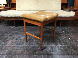 Mid Century Stool with Tan Seat Pad. Retro Vintage Mid Century