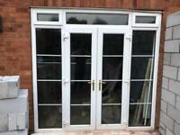 Double glazed exterior french doors with side panel