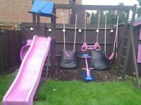 wooden frame swing set