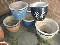 5 Ceramic Garden Plant Pots Used