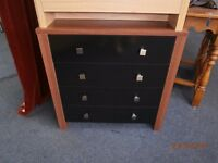 Walnut Effect and Black Chest of Drawers NEW