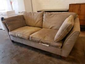 Marks and Spencer light brown fabric 2 seater sofa