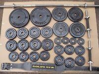 York Cast Iron Weights 75 kg +bar + Dumbbell handles + Belt