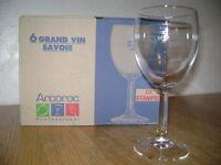 Wine Glasses - Arcoroc Savoie large wine glasses 350ml , box of 6, as new