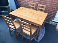 Ikea wood table & 4 chairs good condition