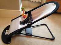 BabyBjorn fabric baby seat/bouncer with wooden toy bar. Black & silver in excellent condition